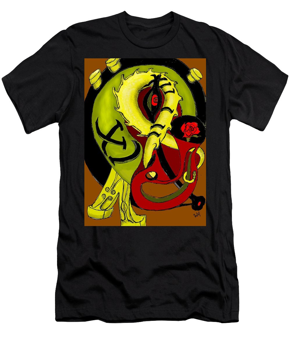 Clock Men's T-Shirt (Athletic Fit) featuring the digital art The Clock by Helmut Rottler