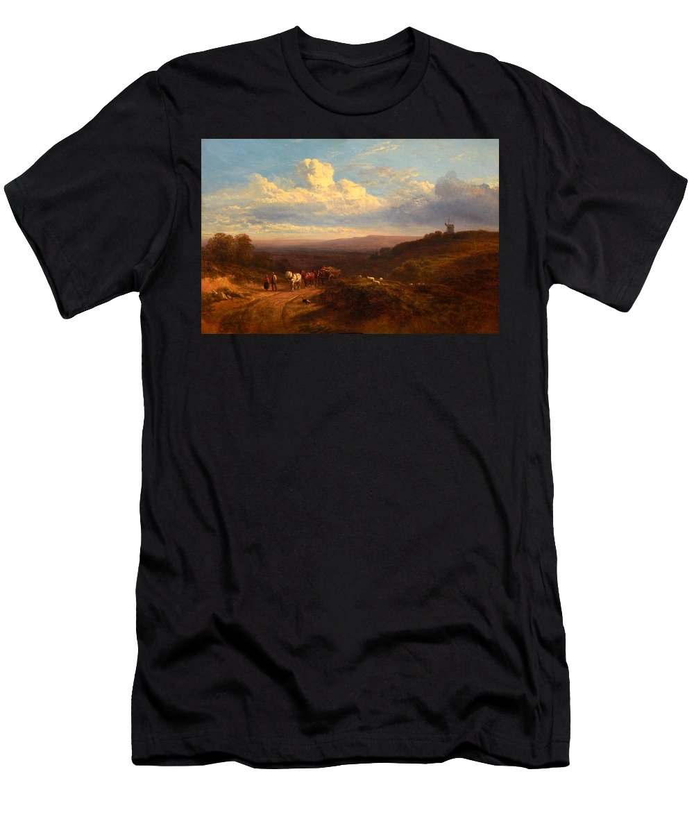George Cole (portsmouth 1810 - London 1883) Men's T-Shirt (Athletic Fit) featuring the painting The Close Of The Day by MotionAge Designs