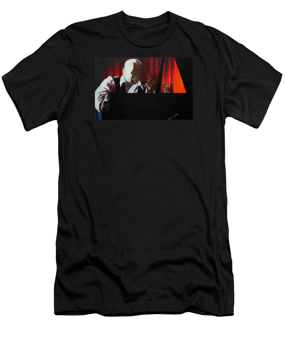 Jazz Musician Men's T-Shirt (Athletic Fit) featuring the painting The Composer by Arthur Covington