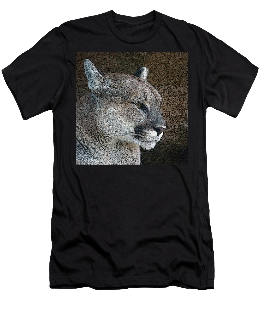 Mountain Lion Men's T-Shirt (Athletic Fit) featuring the photograph The Cougar by Ernie Echols