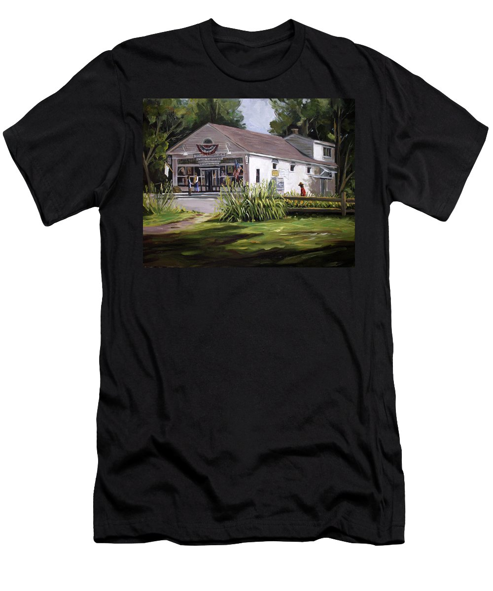 Buildings Men's T-Shirt (Athletic Fit) featuring the painting The Country Store by Nancy Griswold