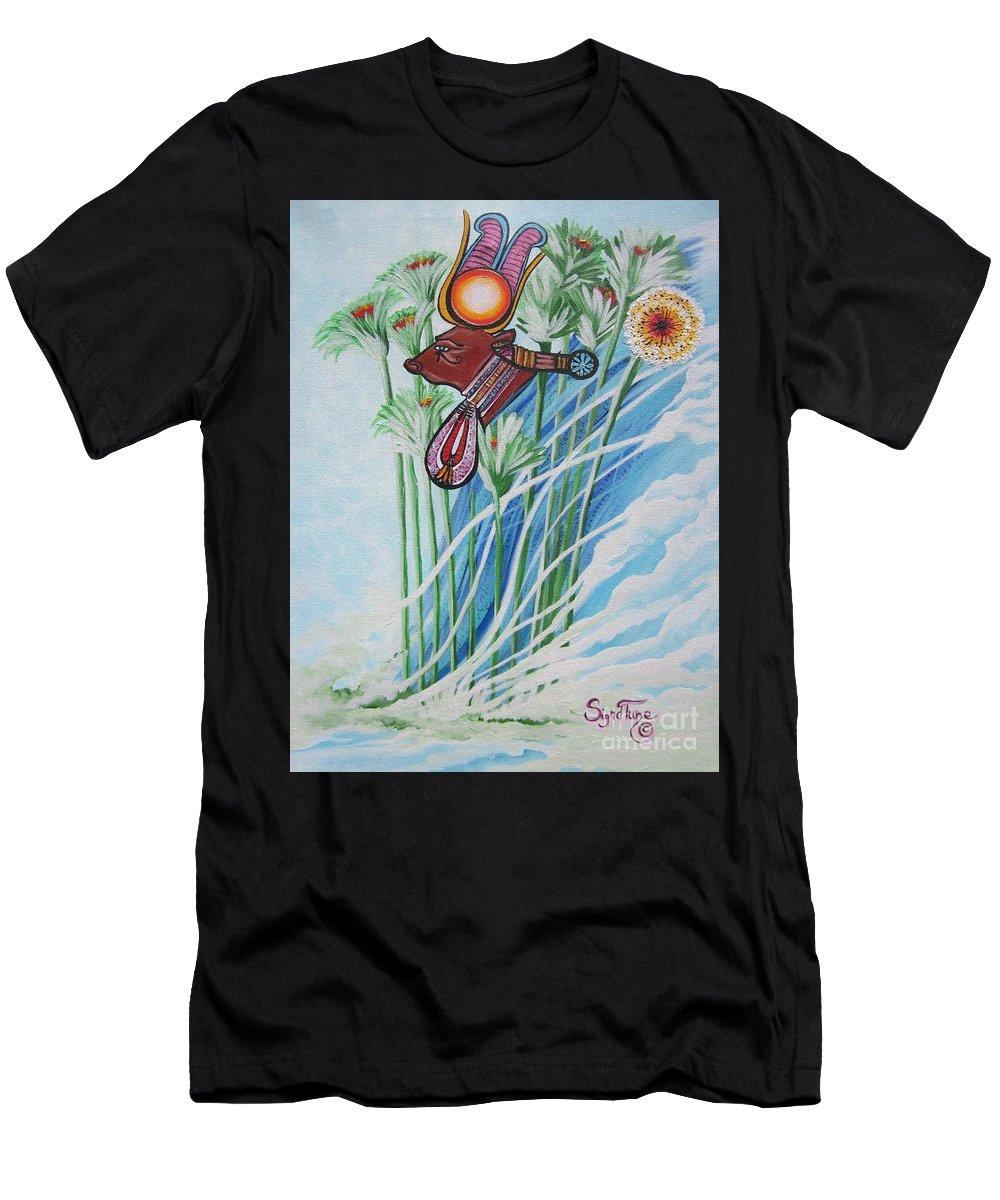 Design Men's T-Shirt (Athletic Fit) featuring the painting Blaa Kattproduksjoner      The Cow Goddess - Hathor by Sigrid Tune