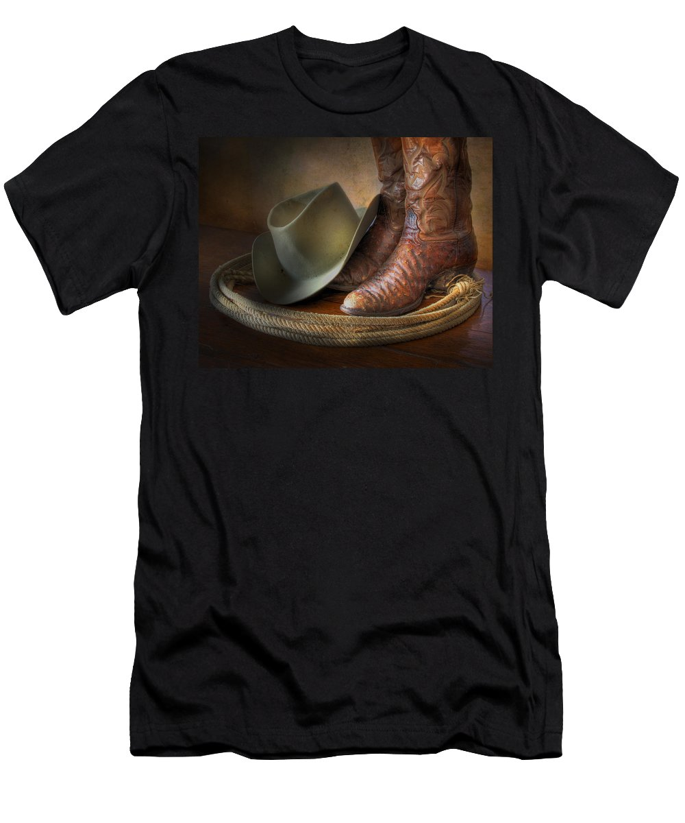 American Cowboy Men's T-Shirt (Athletic Fit) featuring the photograph The Cowboy Boots, Hat And Lasso by David and Carol Kelly