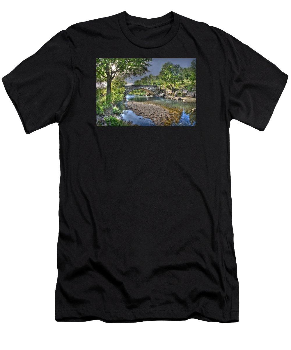 Dexter Men's T-Shirt (Athletic Fit) featuring the photograph The Crabb Creek Bridge by Michael Ciskowski