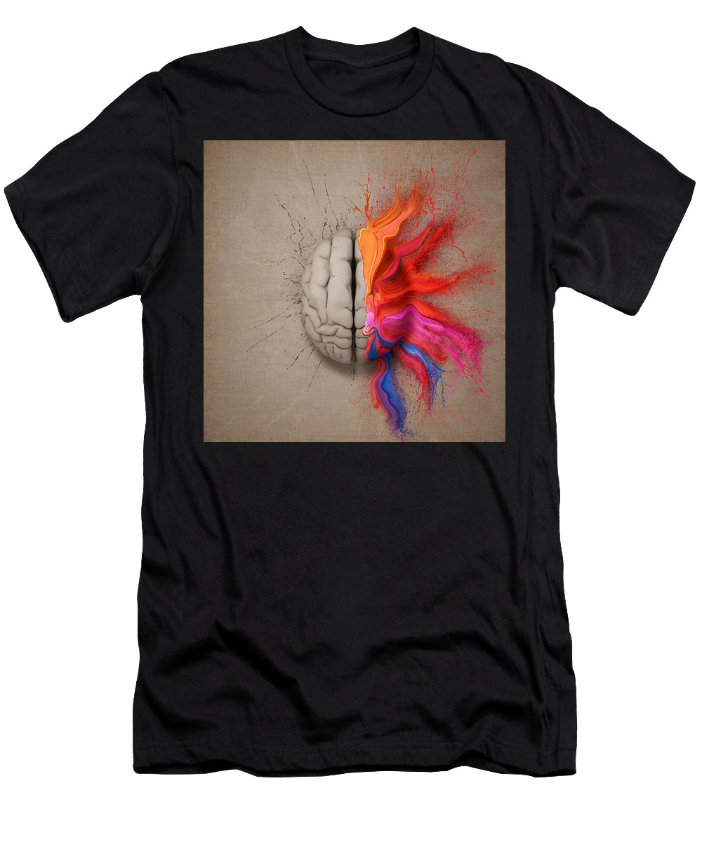 Brain Men's T-Shirt (Athletic Fit) featuring the digital art The Creative Brain by Johan Swanepoel
