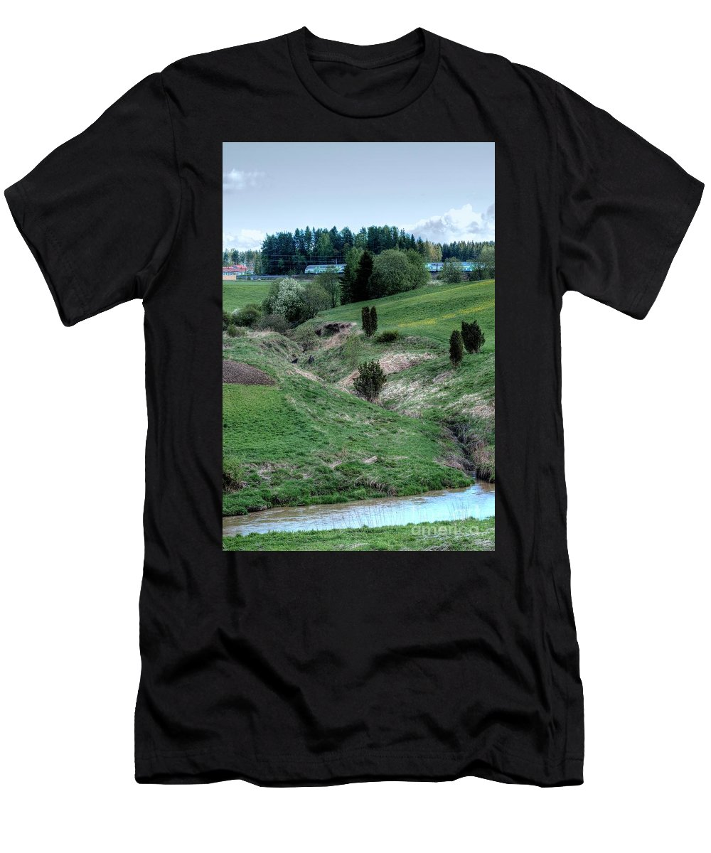 River Men's T-Shirt (Athletic Fit) featuring the photograph The Creek And River by Esko Lindell