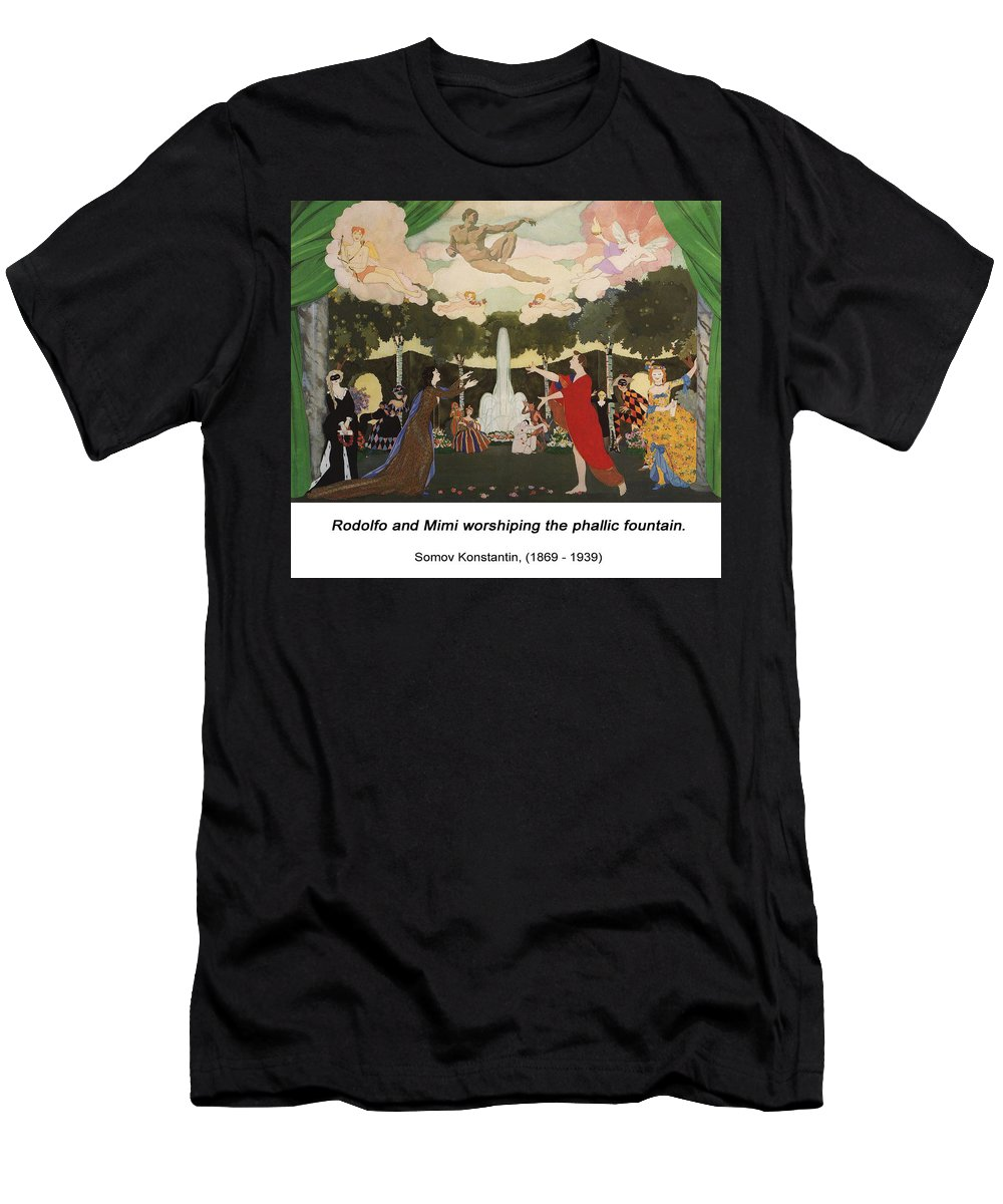 Altered Art Men's T-Shirt (Athletic Fit) featuring the digital art The Curtain Sketch For The Free Theater In Moscow by John Saunders