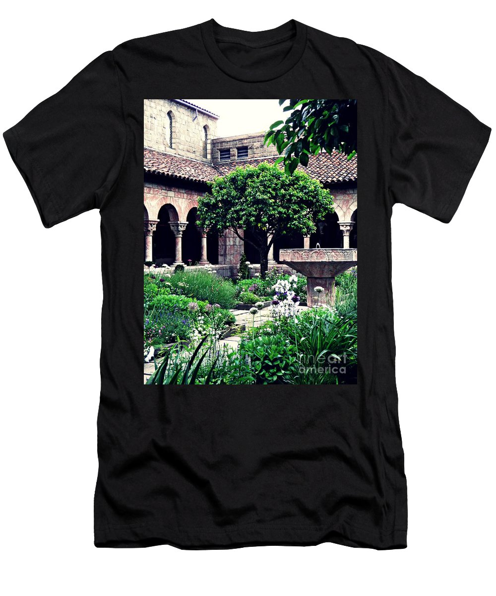 Cloister Men's T-Shirt (Athletic Fit) featuring the photograph The Cuxa Cloister 1 by Sarah Loft