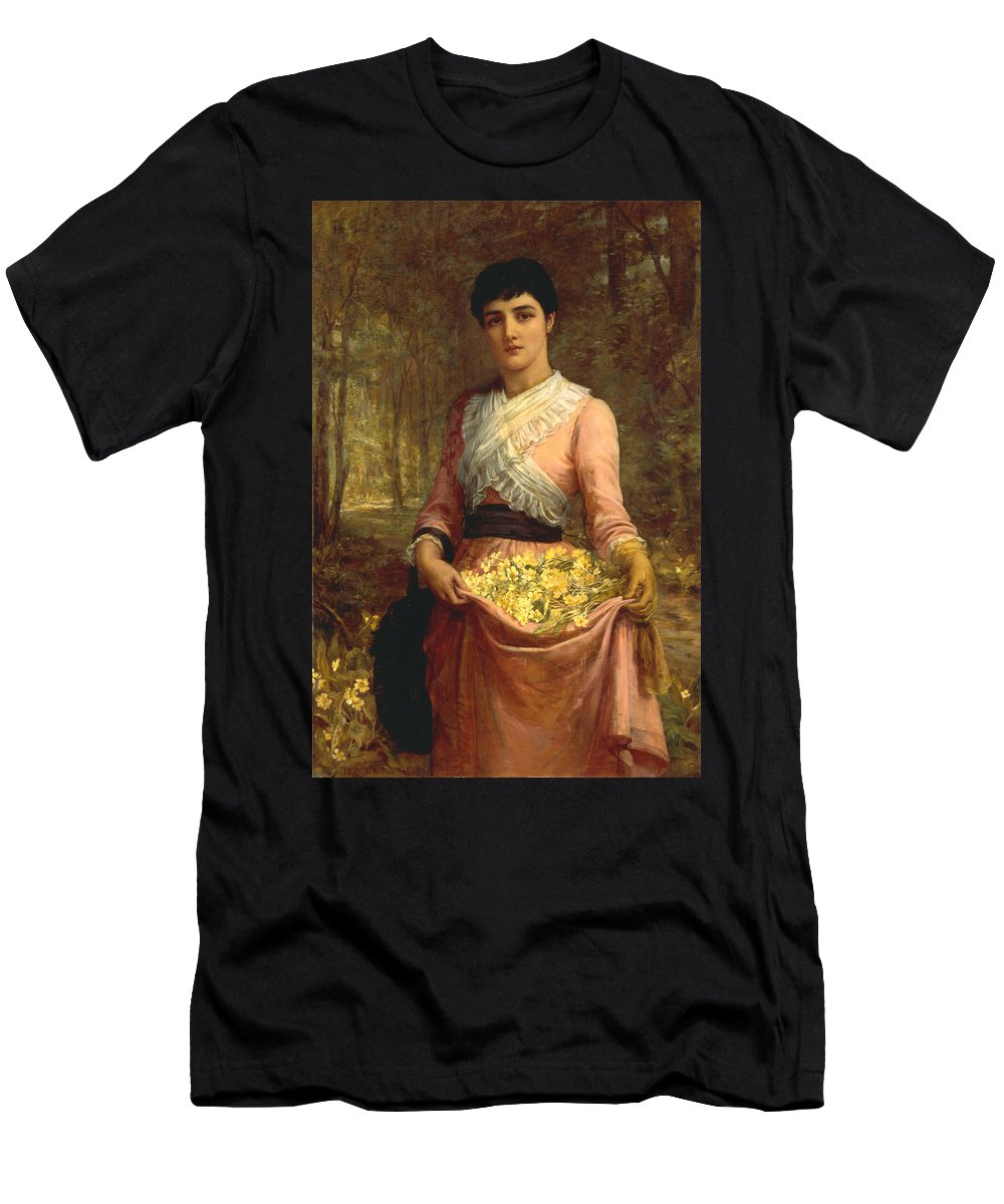 Edwin Long - The Daughters Of Our Empire. England- The Primrose Men's T-Shirt (Athletic Fit) featuring the painting The Daughters Of Our Empire. England- The Primrose by Edwin Long