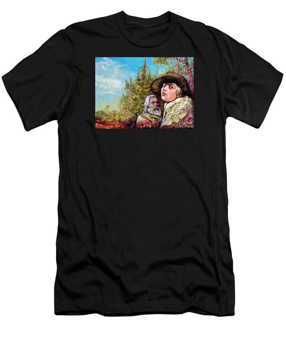 Surrealism Men's T-Shirt (Athletic Fit) featuring the painting The Dauphin And Captain Nemo Discovering Bogomils Island by Otto Rapp
