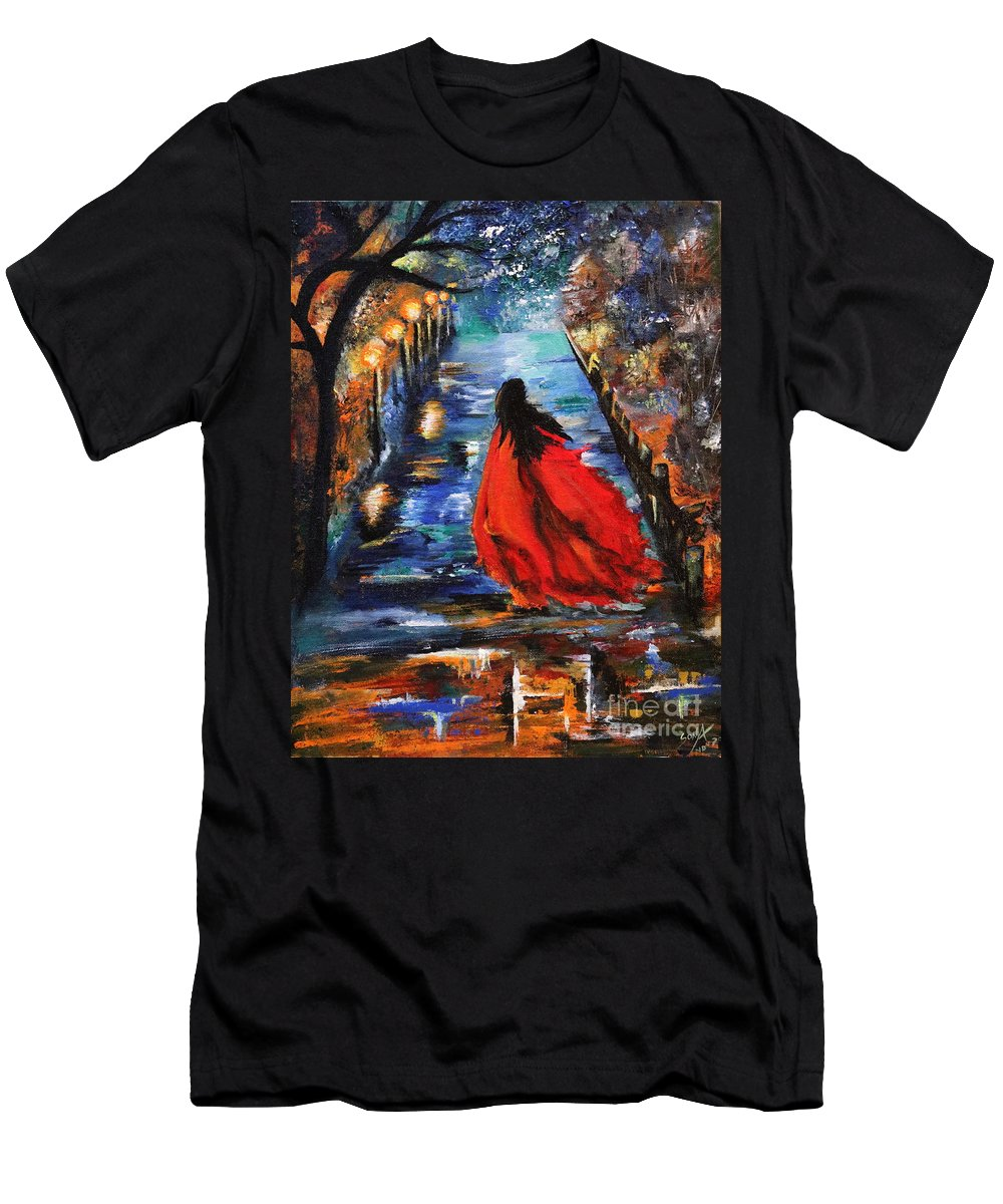 Acrylic Oil Painting Men's T-Shirt (Athletic Fit) featuring the painting The Dawn by Richa Anand