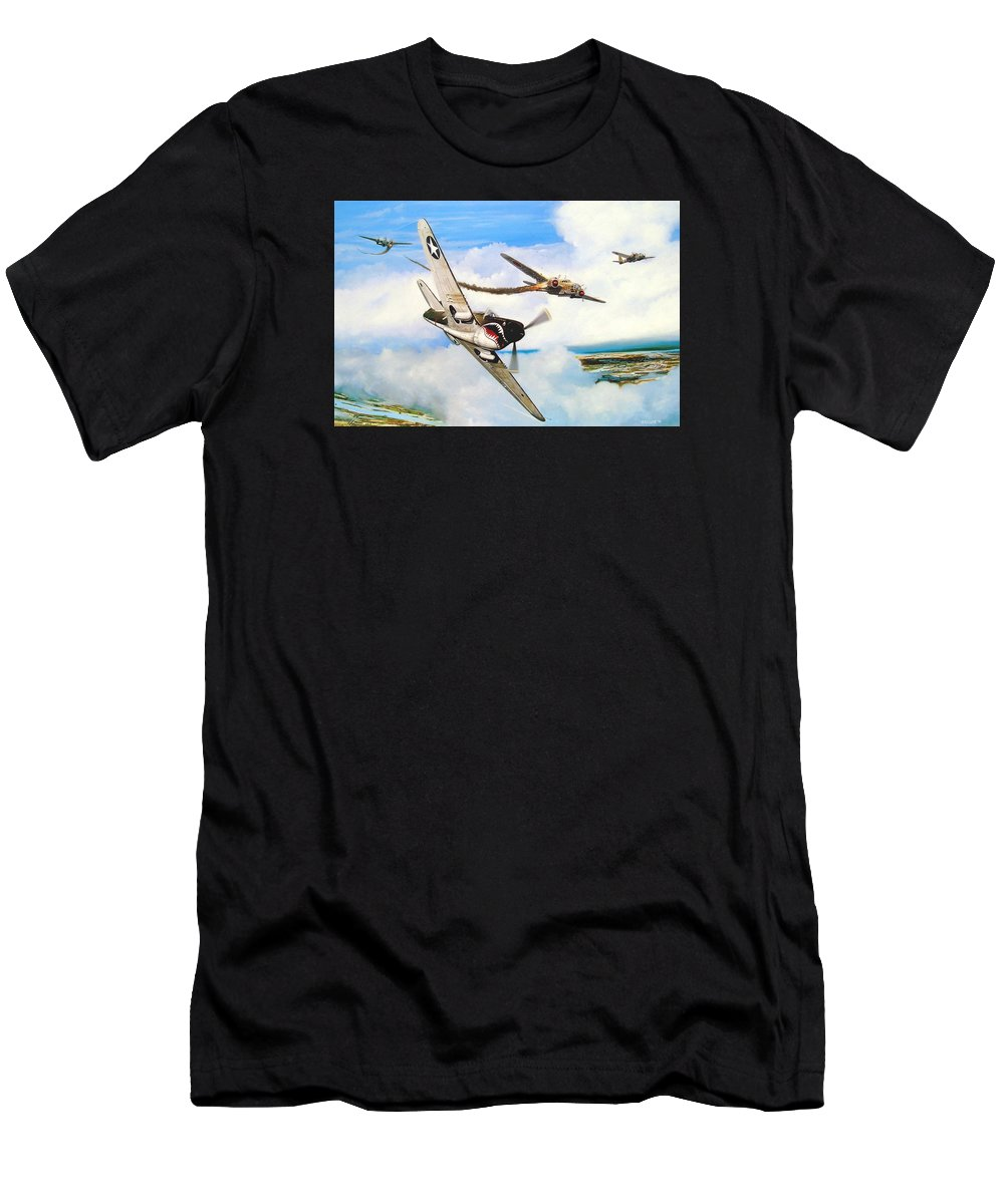 Military Men's T-Shirt (Athletic Fit) featuring the painting The Day I Owned The Sky by Marc Stewart
