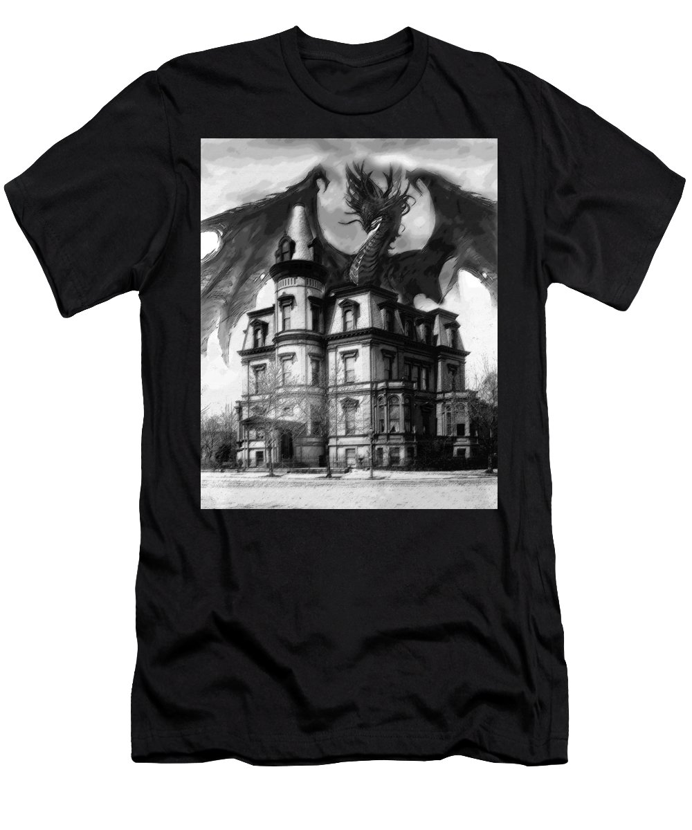 Demon Of Hell House Men's T-Shirt (Athletic Fit) featuring the painting The Demon Of Hell House by Christopher Kerby