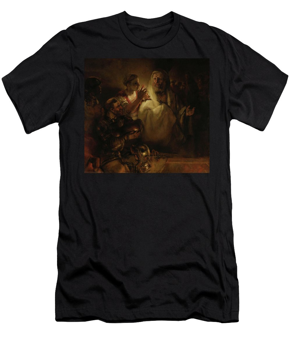 Painting Men's T-Shirt (Athletic Fit) featuring the painting The Denial Of St Peter by Mountain Dreams