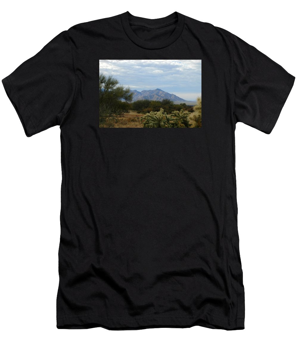Tucson Men's T-Shirt (Athletic Fit) featuring the photograph The Desert Landscape by Teresa Stallings