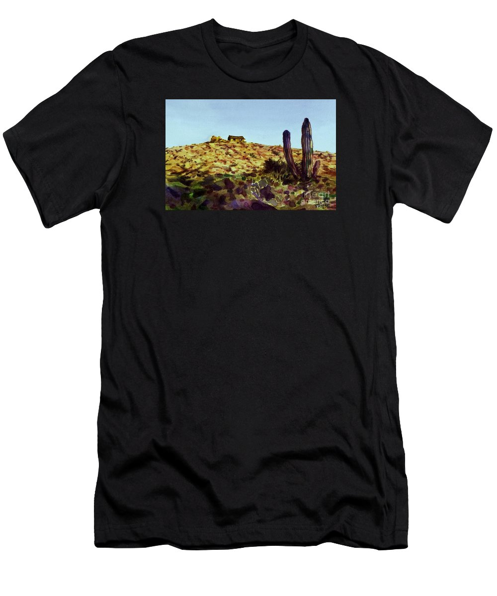 Cynthia Pride Watercolor Paintings Men's T-Shirt (Athletic Fit) featuring the painting The Desert Place by Cynthia Pride