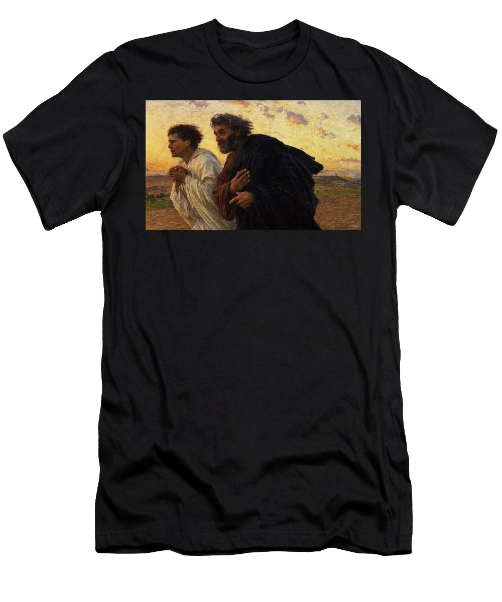 The T-Shirt featuring the painting The Disciples Peter And John Running To The Sepulchre On The Morning Of The Resurrection by Eugene Burnand