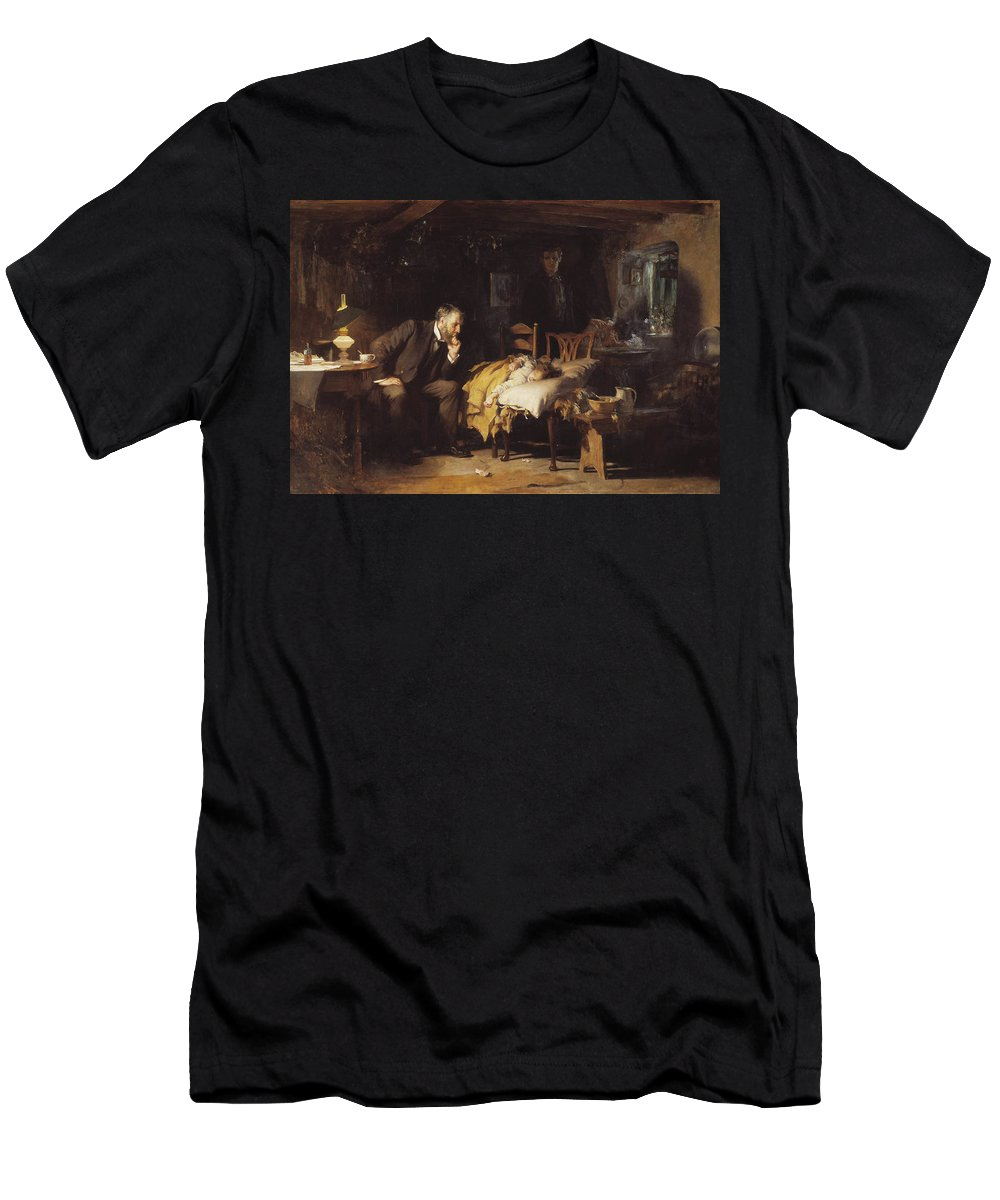 Sir Luke Fildes - The Doctor 1891 Men's T-Shirt (Athletic Fit) featuring the painting The Doctor by MotionAge Designs