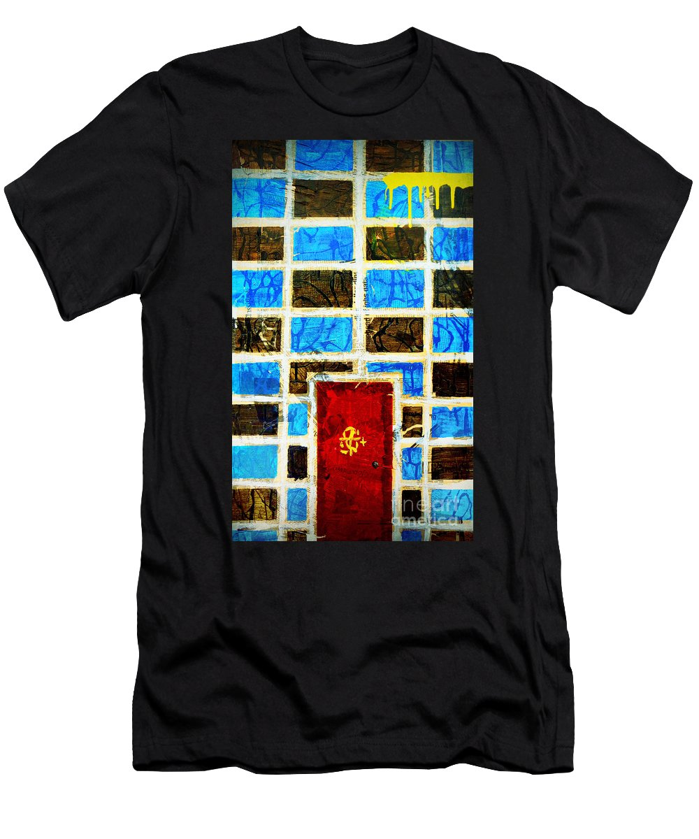 Door Men's T-Shirt (Athletic Fit) featuring the painting The Door And The Wall by Tara Turner