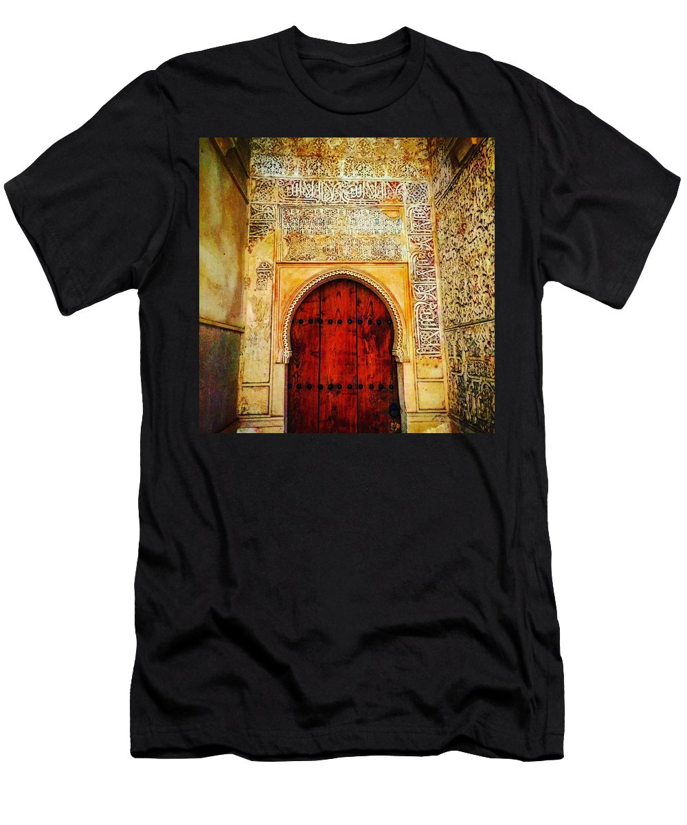 Spain Men's T-Shirt (Athletic Fit) featuring the photograph The Door To Alhambra by Alex Favela