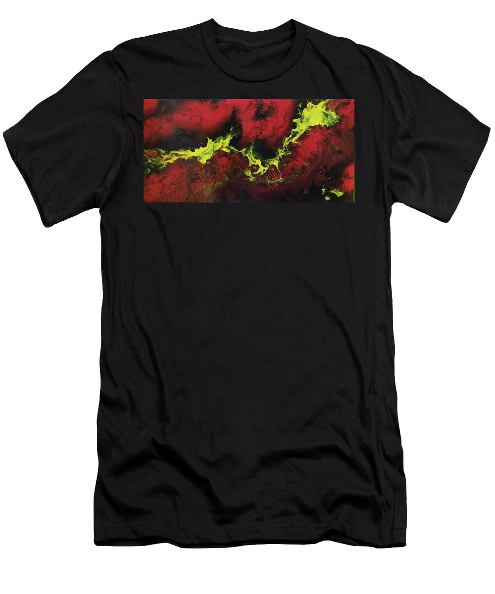 Abstart Art Dragons Breath Modrn Acrylic Creative Red Black Yellow Painting Deep Goals Flames Shoot Deadly Men's T-Shirt (Athletic Fit) featuring the painting The Dragon Breath by Yael Ungar