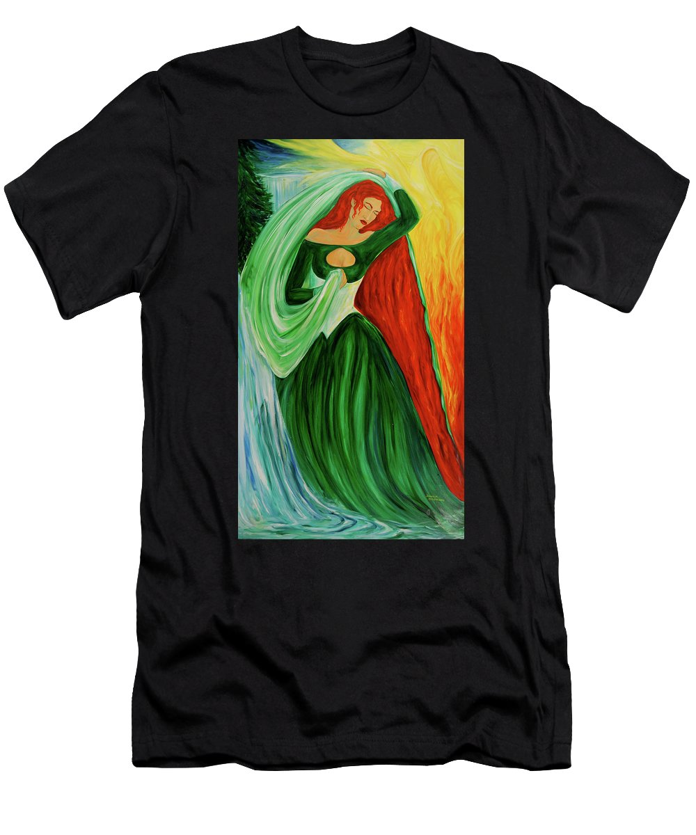 The Aquarian Character Vaehema Men's T-Shirt (Athletic Fit) featuring the painting The Dragon Queen by Jennifer Christenson