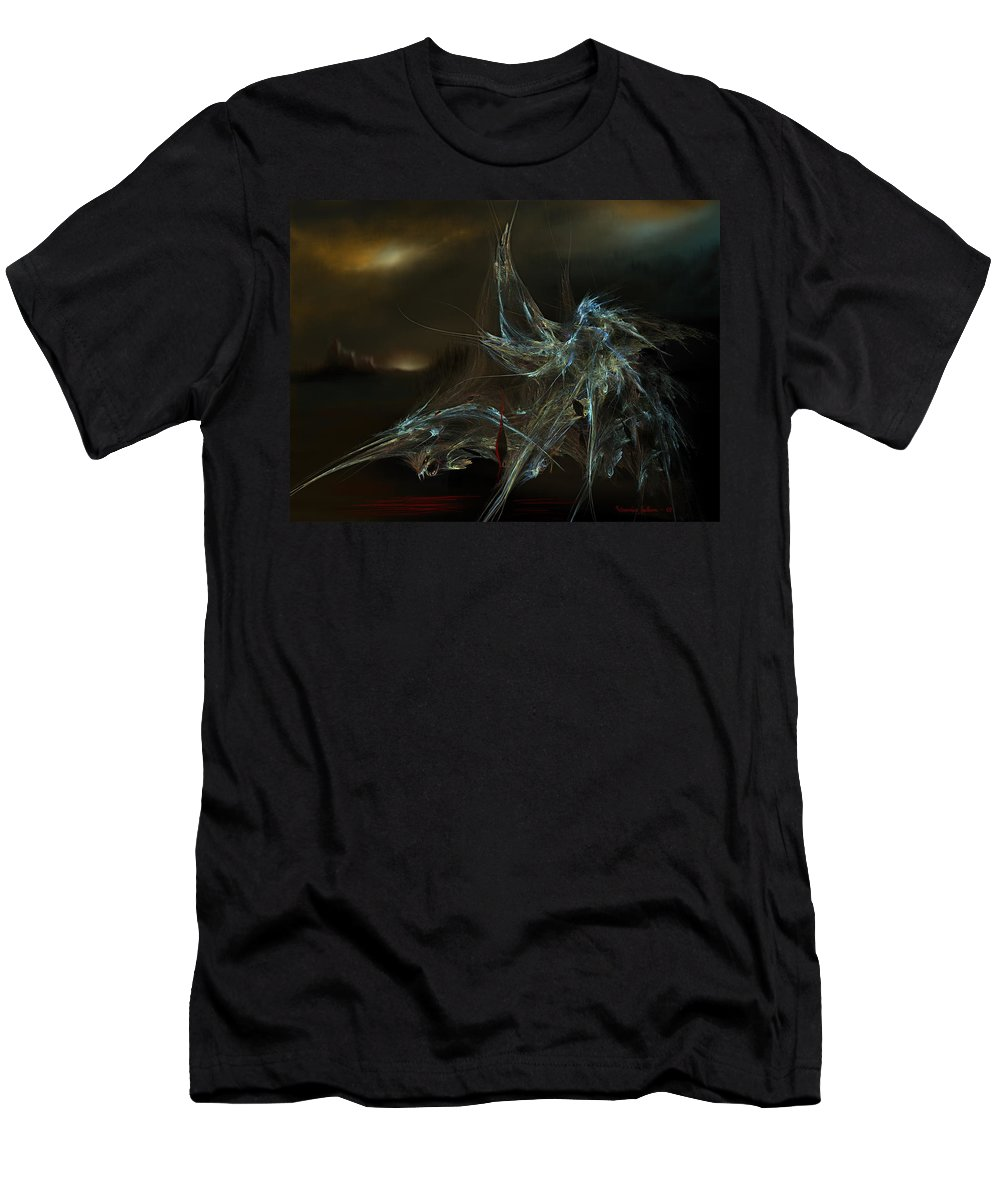 Dragon Warrior Medieval Fantasy Darkness Men's T-Shirt (Athletic Fit) featuring the digital art The Dragon Warrior by Veronica Jackson