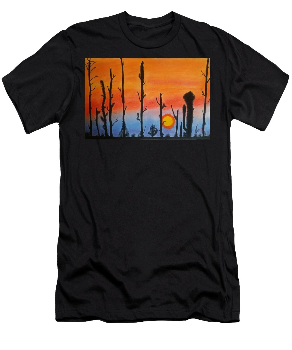 Sunset Men's T-Shirt (Athletic Fit) featuring the mixed media The Dryest Sunset by Sara Baker