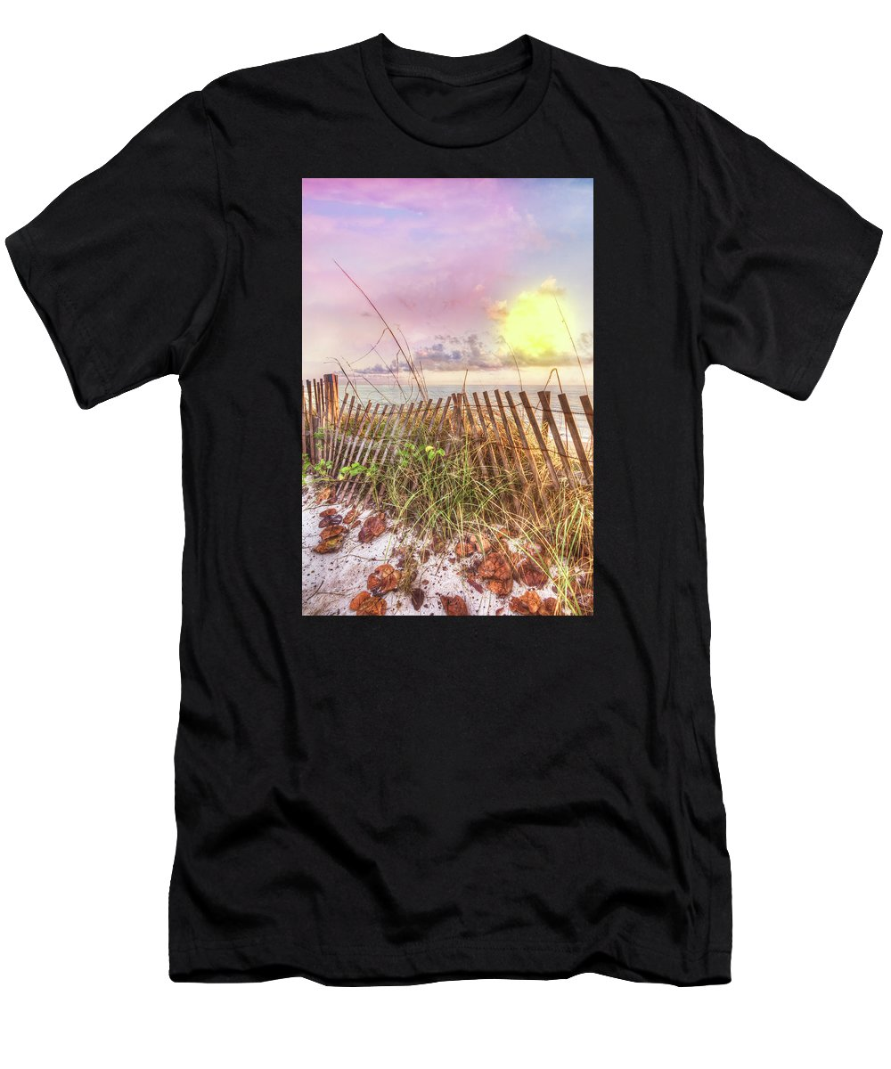 Clouds Men's T-Shirt (Athletic Fit) featuring the photograph The Dunes In Watercolors by Debra and Dave Vanderlaan