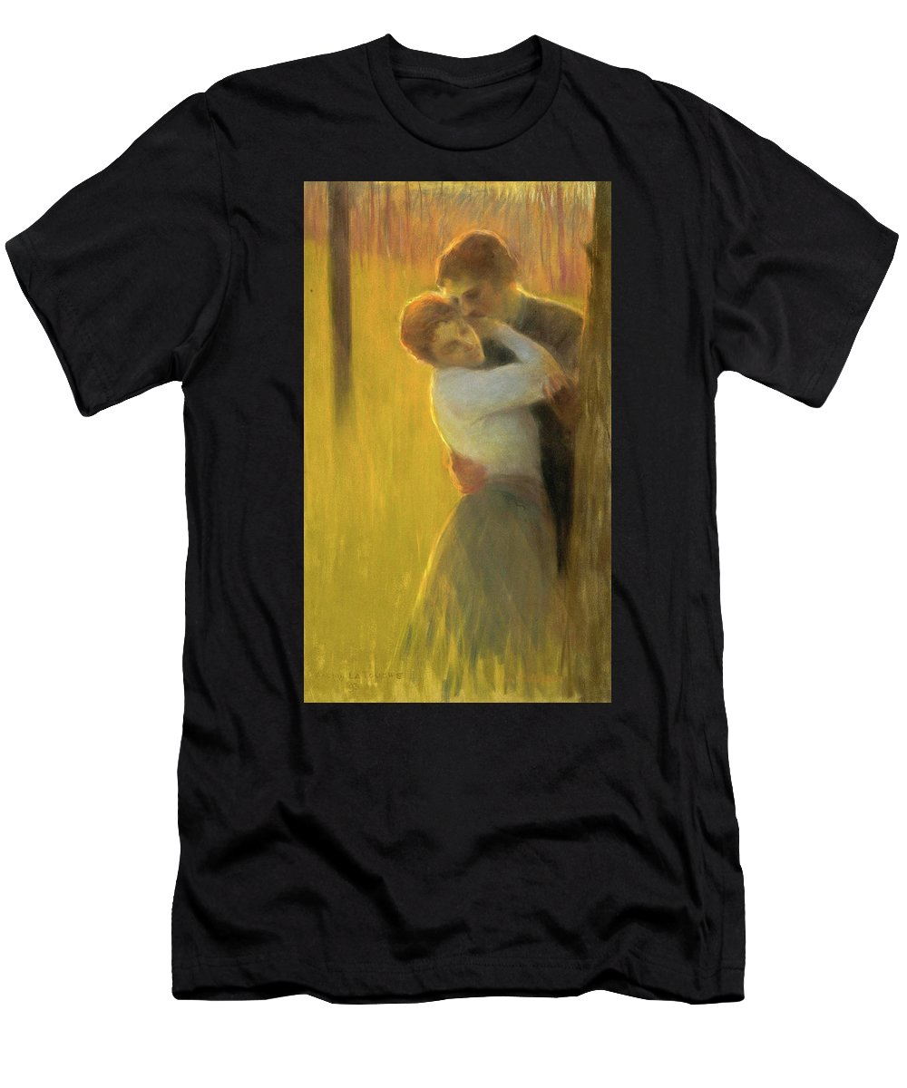 Gaston La Touche Men's T-Shirt (Athletic Fit) featuring the drawing The Embrace by Gaston la Touche