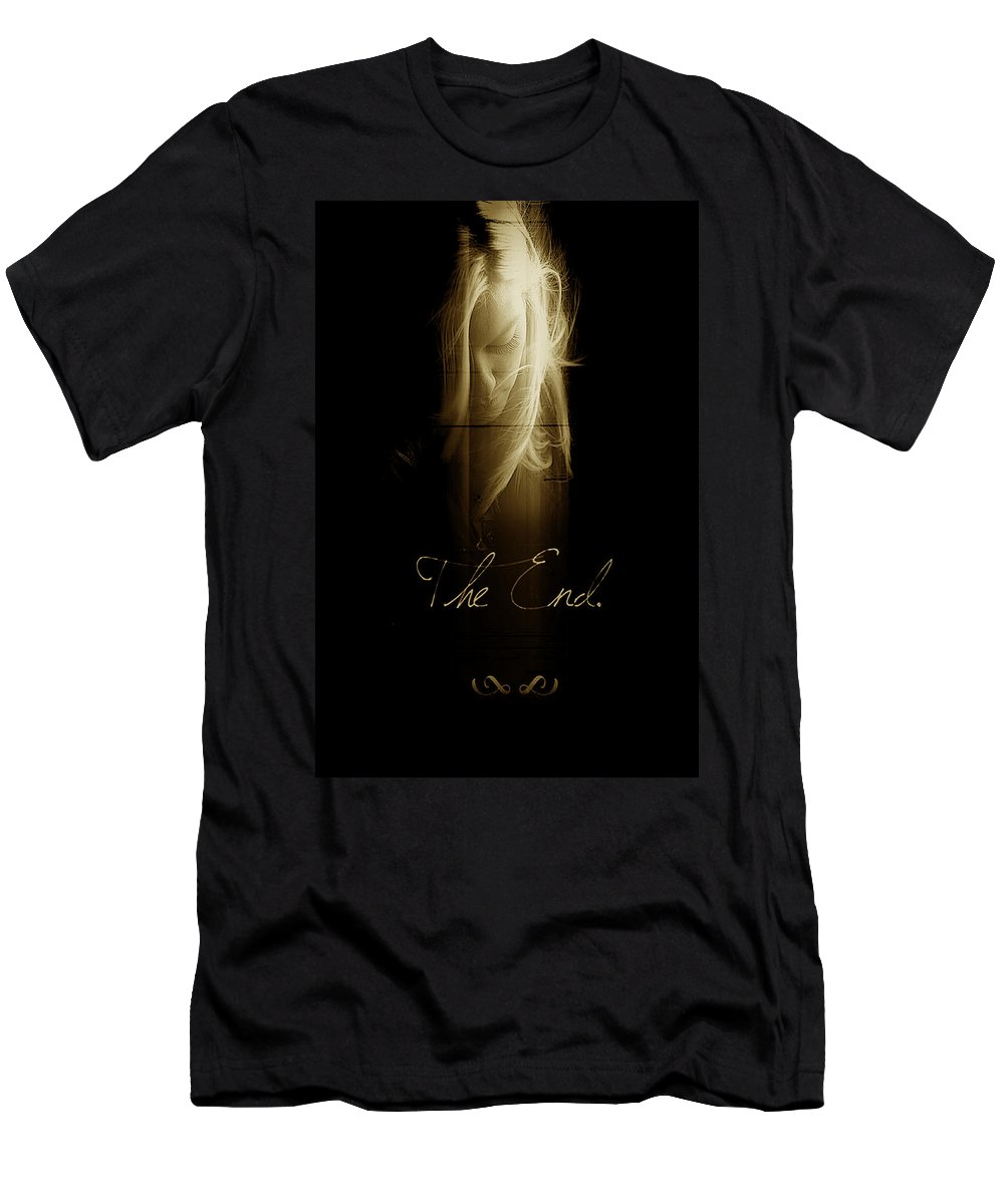 Abstract Dark Profile Of Morgan Men's T-Shirt (Athletic Fit) featuring the photograph The End by Bill Munster