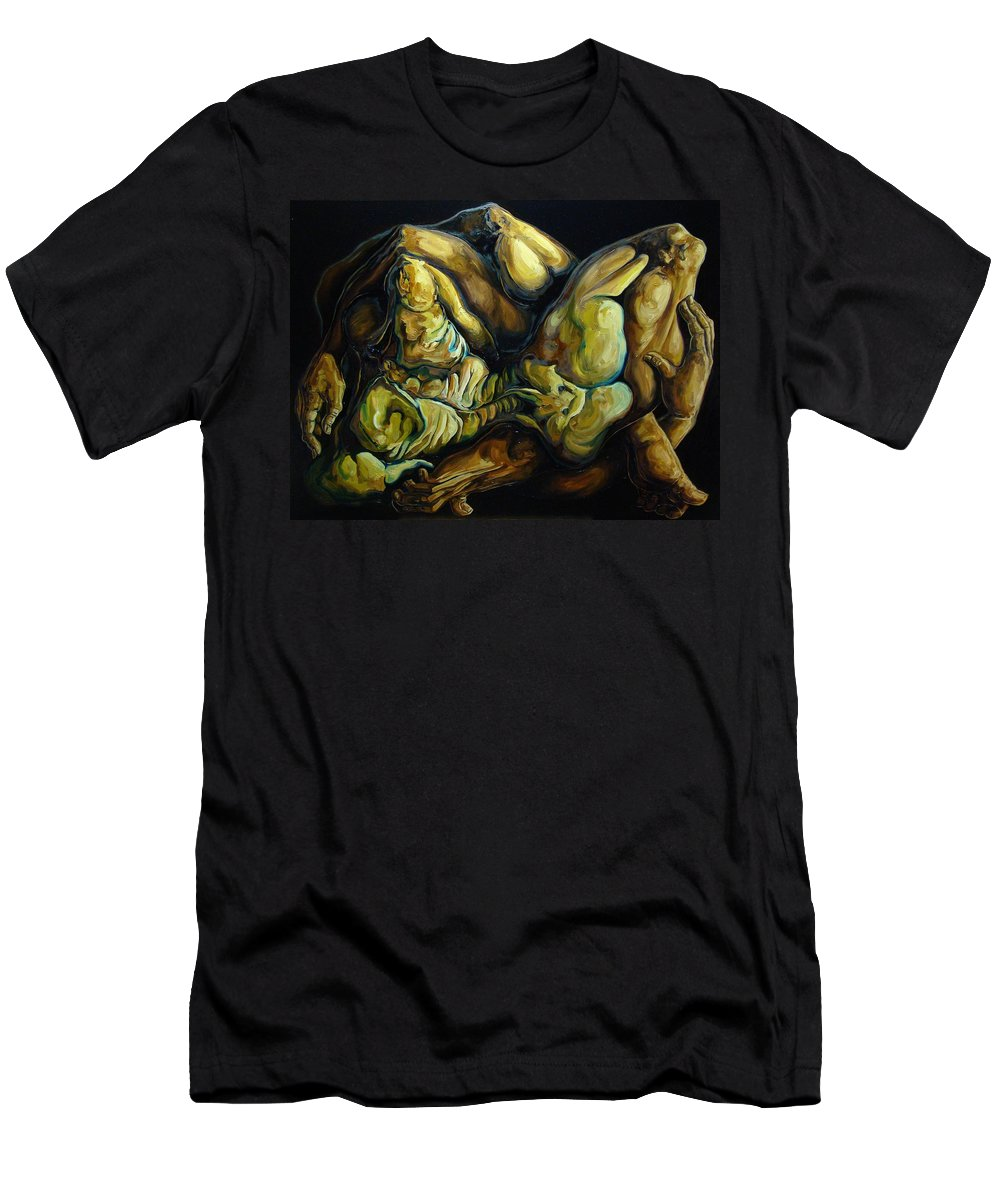 Surrealism Men's T-Shirt (Athletic Fit) featuring the painting The Eternal Embrace by Darwin Leon