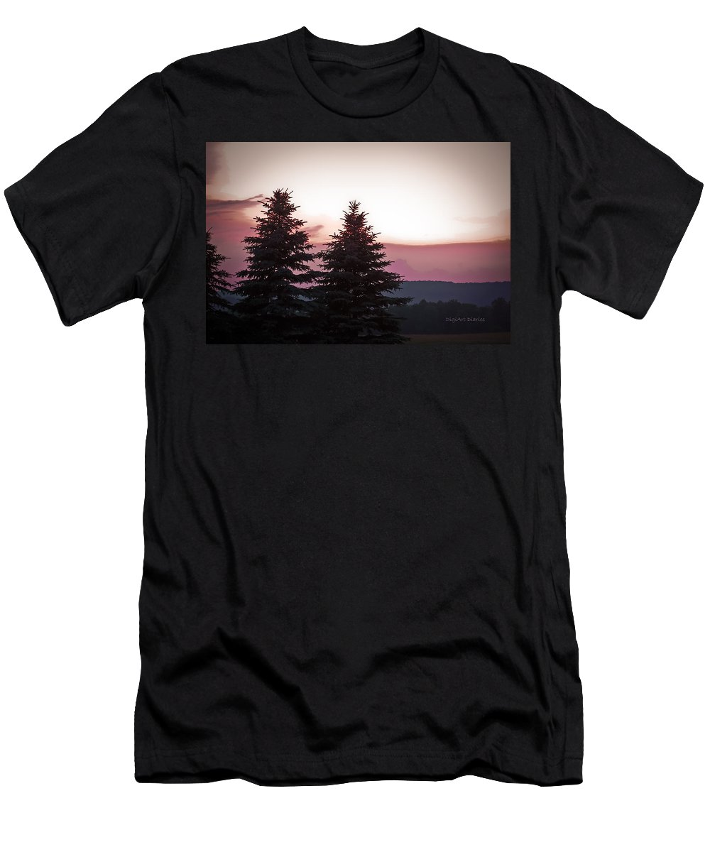 Sunset Men's T-Shirt (Athletic Fit) featuring the photograph The Evening Before by DigiArt Diaries by Vicky B Fuller
