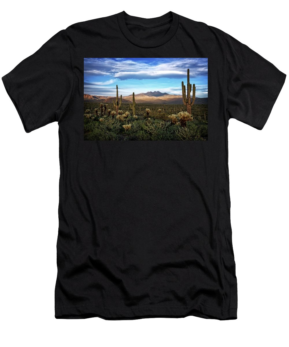 Sunset Men's T-Shirt (Athletic Fit) featuring the photograph The Evening Glow by Saija Lehtonen
