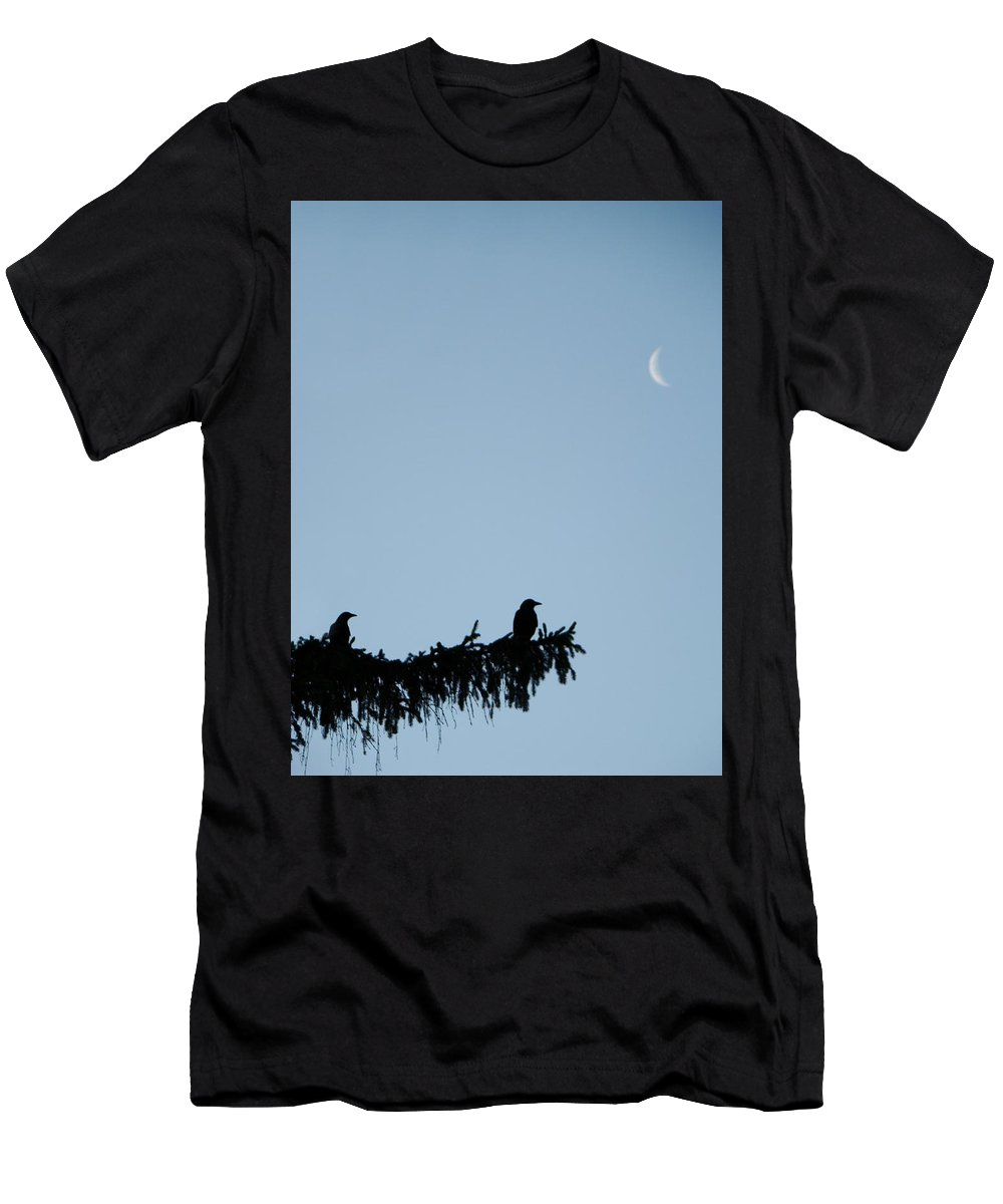 Moon Men's T-Shirt (Athletic Fit) featuring the photograph The Evergreen Twins And The Crescent Moon by Gothicrow Images