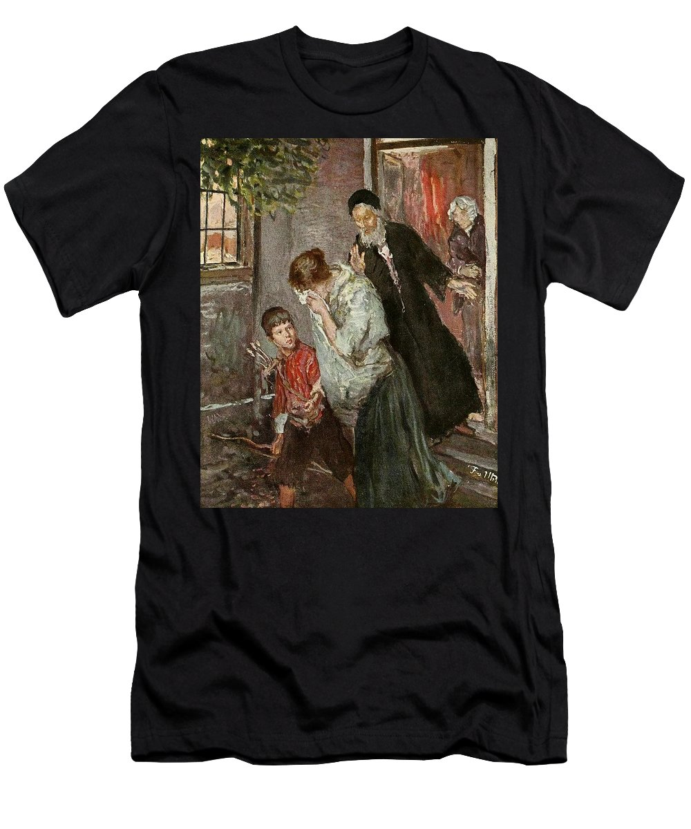 Fritz Von Uhde - 1890 Men's T-Shirt (Athletic Fit) featuring the painting The Expulsion Of Hagar by MotionAge Designs