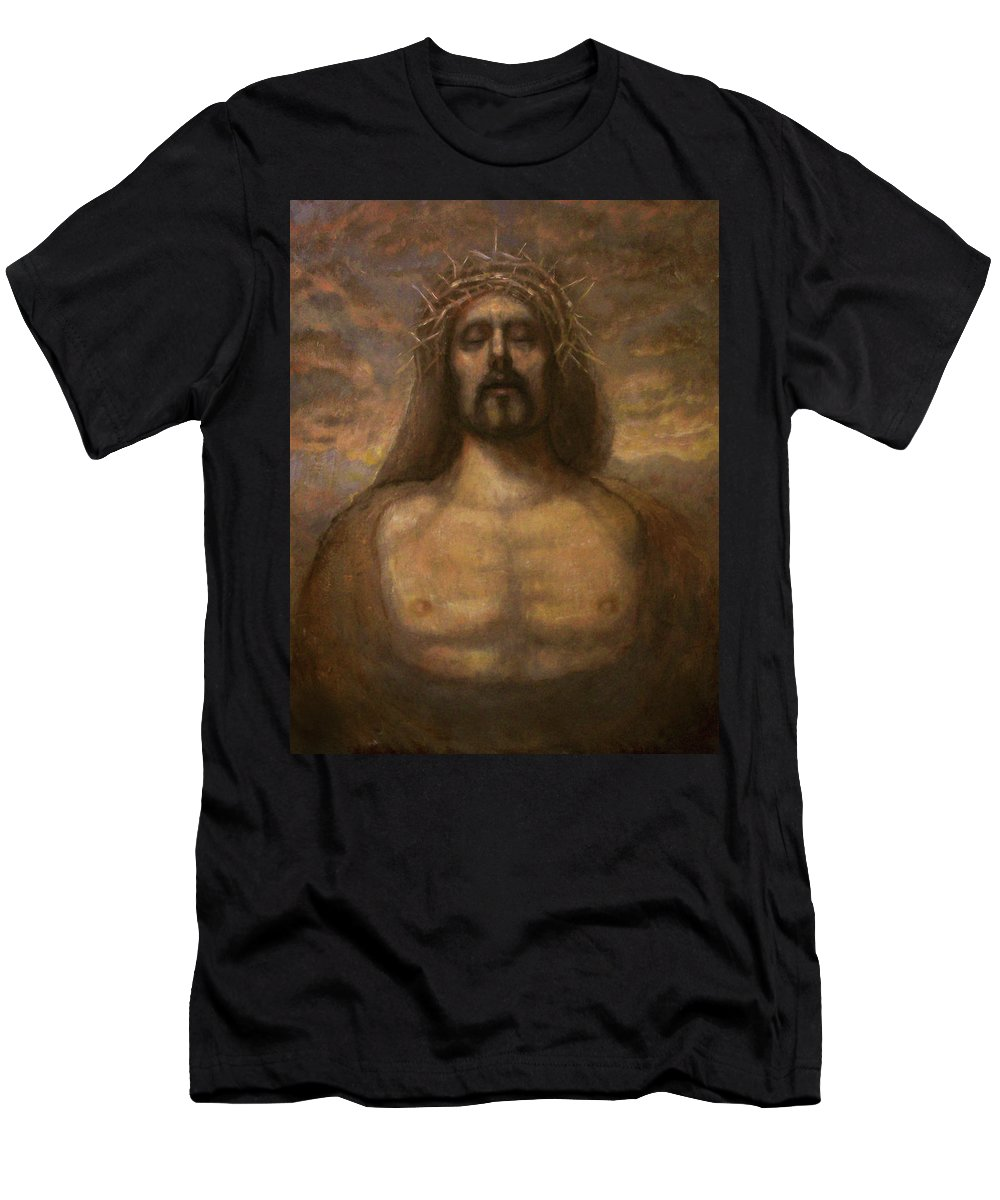 Realism Men's T-Shirt (Athletic Fit) featuring the painting The Faith Of Christ by Derek Van Derven