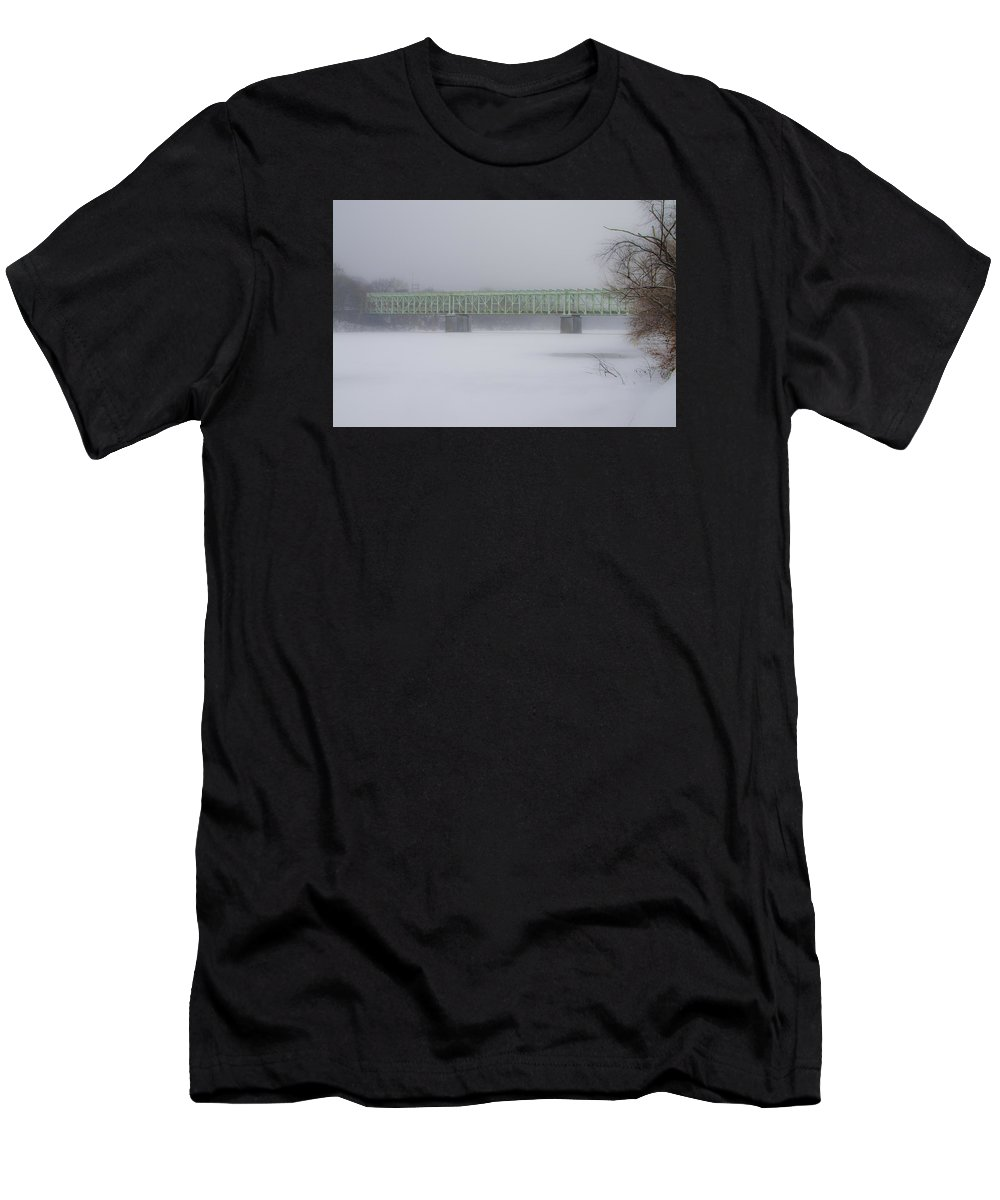 Falls Men's T-Shirt (Athletic Fit) featuring the photograph The Falls Bridge And The Frozen Schuylkill River by Bill Cannon
