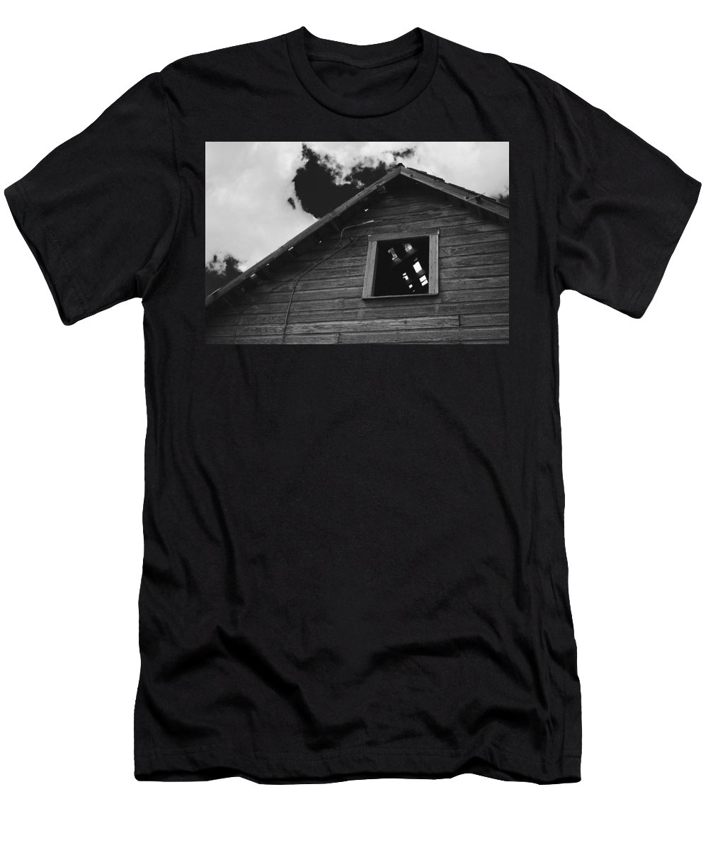 Black And White Men's T-Shirt (Athletic Fit) featuring the photograph The Farm In Black And White by Andy Johnson