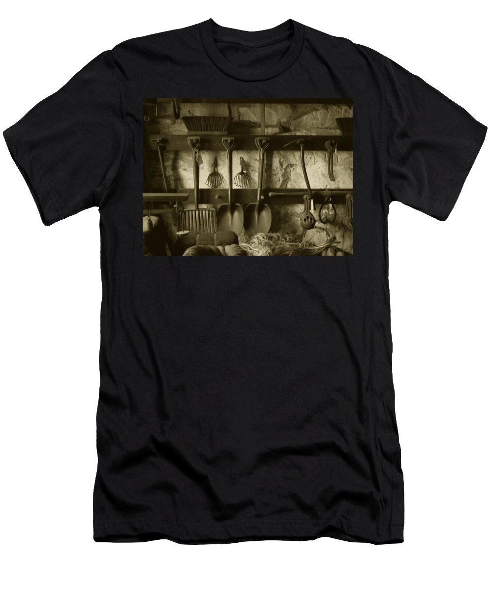 Farming Men's T-Shirt (Athletic Fit) featuring the photograph The Farmer's Toolshed by RC DeWinter