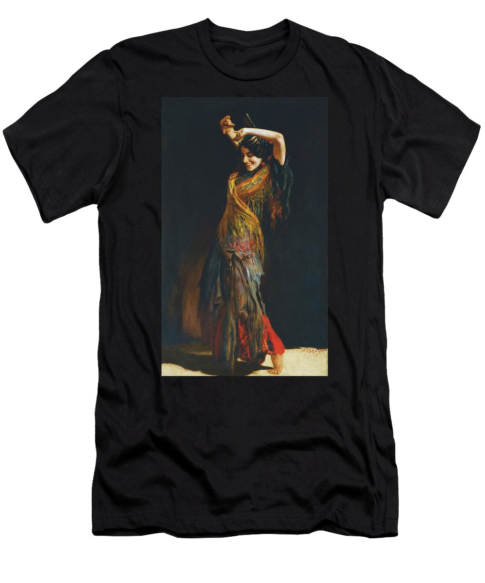 Leopold Schmutzler (austrian Men's T-Shirt (Athletic Fit) featuring the painting The Flamenco Dancer by MotionAge Designs