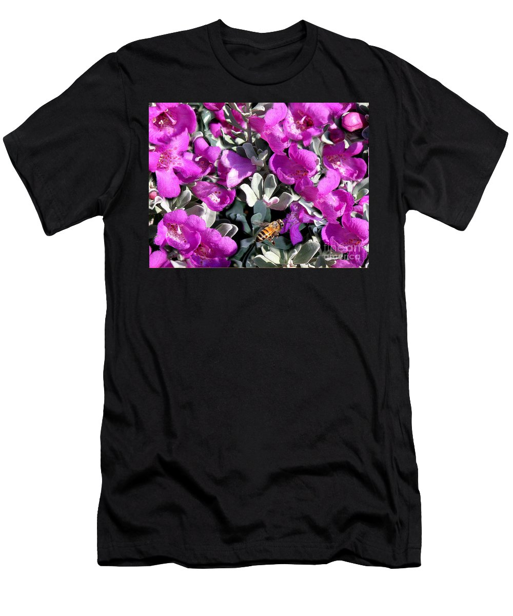 Nature Men's T-Shirt (Athletic Fit) featuring the photograph The Flight Of The Bumble Bee by Lucyna A M Green