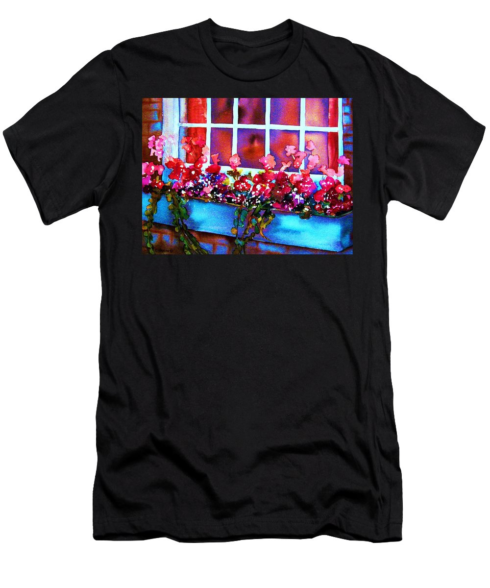 Flowerbox Men's T-Shirt (Athletic Fit) featuring the painting The Flowerbox by Carole Spandau
