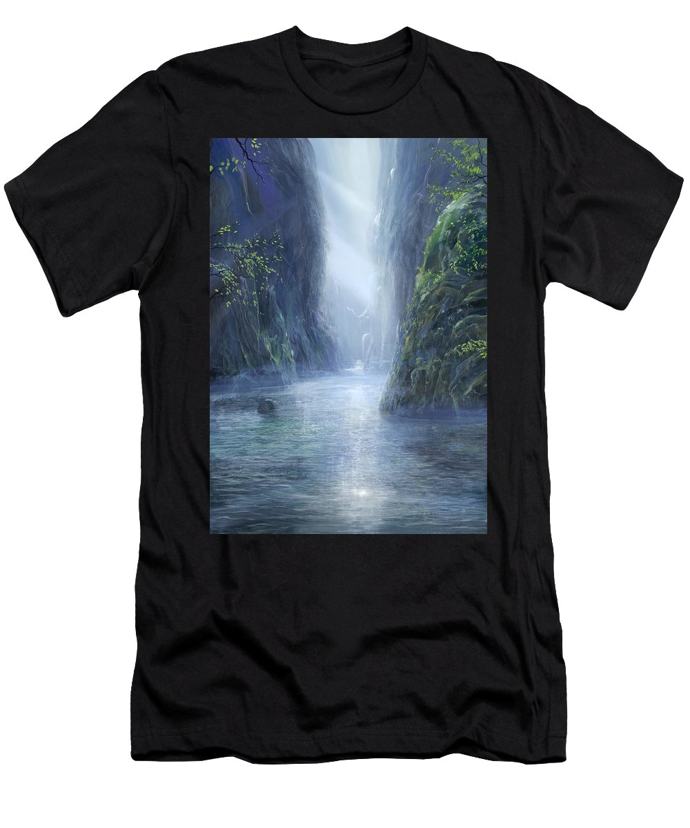 Blue Men's T-Shirt (Athletic Fit) featuring the painting The Flowing Of Time by Silvian Sternhagel