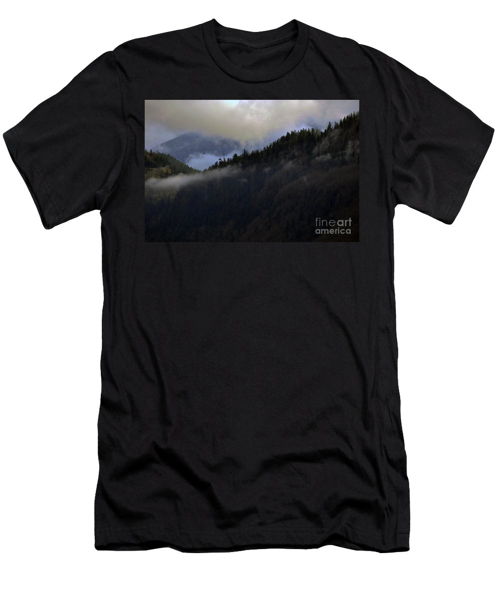 Clay Men's T-Shirt (Athletic Fit) featuring the photograph The Fog Descends On Sumas by Clayton Bruster