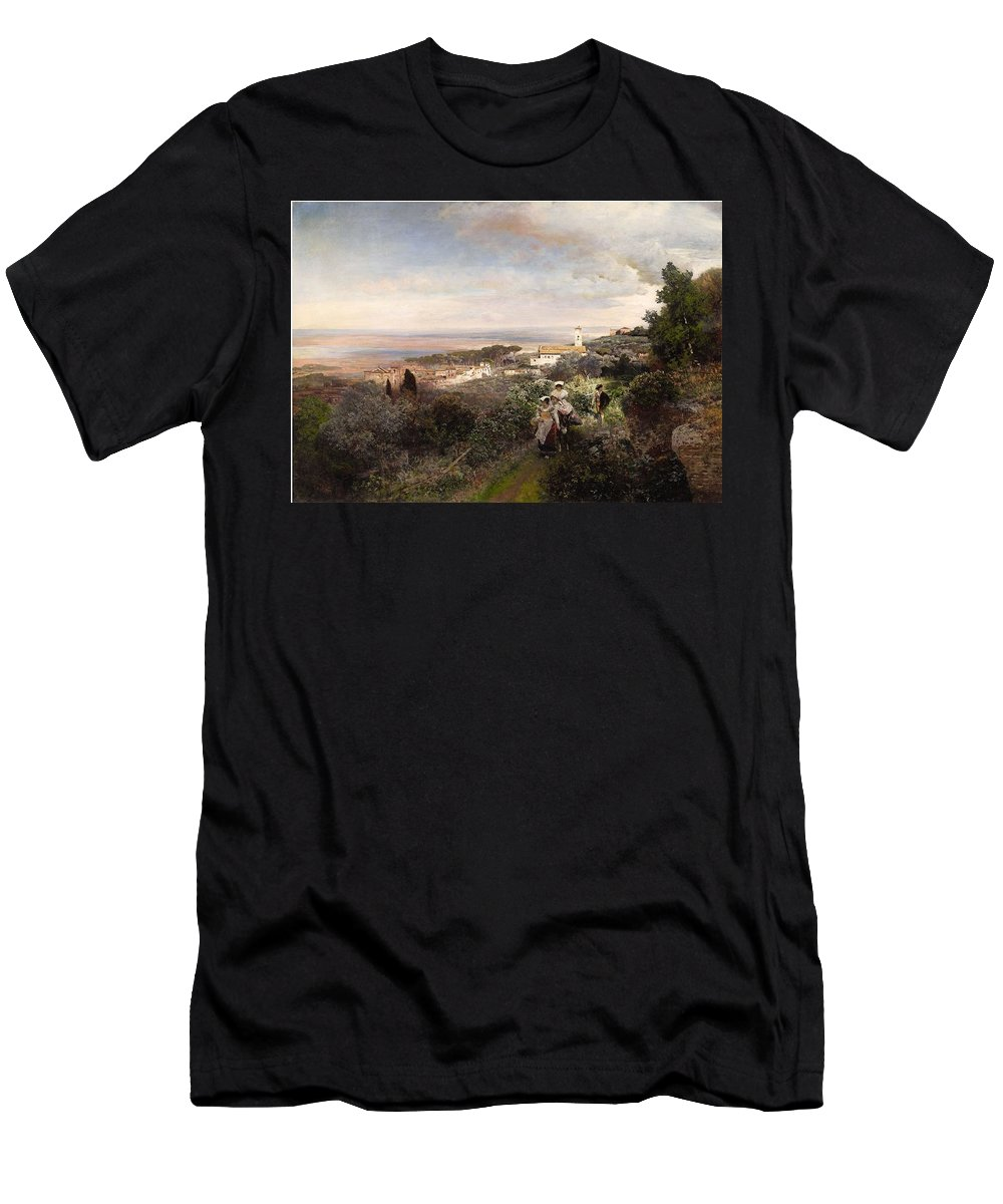Oswald Achenbach Men's T-Shirt (Athletic Fit) featuring the painting The Footpath From Ariccia To Albano by MotionAge Designs