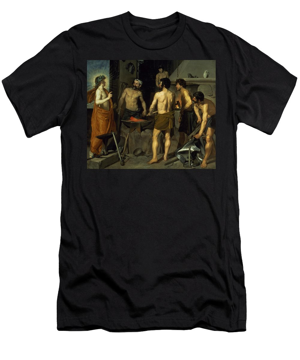 The Forge Of Vulcan Men's T-Shirt (Athletic Fit) featuring the painting The Forge Of Vulcan by Diego Velazquez