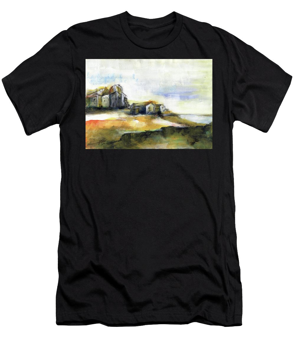 Abstract Landscape Men's T-Shirt (Athletic Fit) featuring the painting The Fortress by Aniko Hencz
