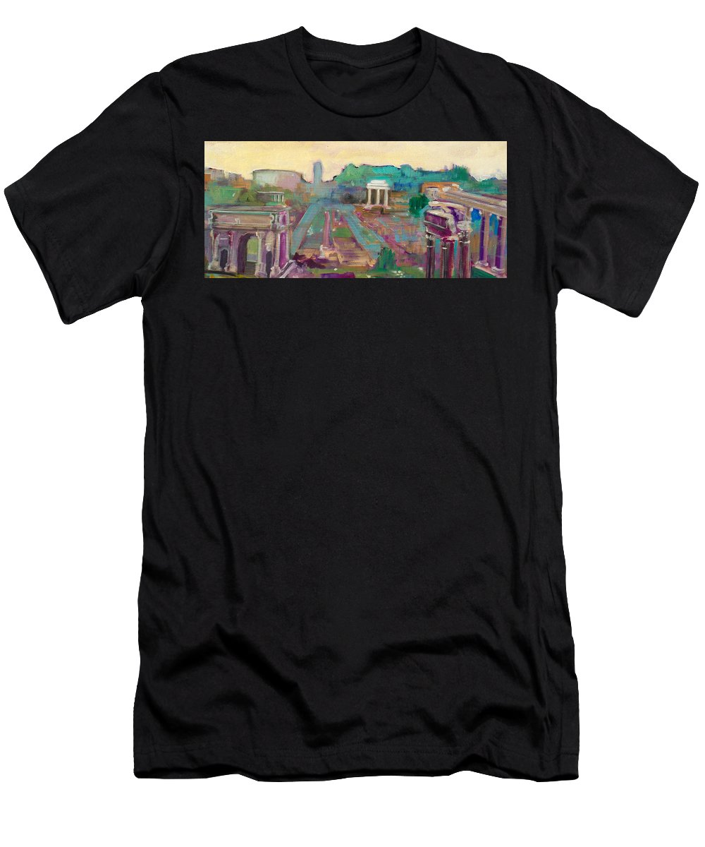 Rome Men's T-Shirt (Athletic Fit) featuring the painting The Forum Romanum by Kurt Hausmann