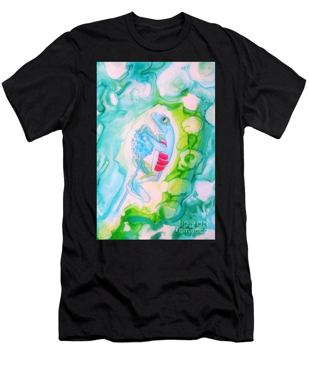 Justin Moore Men's T-Shirt (Athletic Fit) featuring the drawing The Frog And Flower by Justin Moore